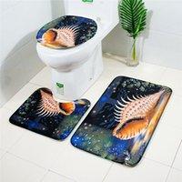 ingrosso grandi bagni-EuropeAmerica Big Conch Printing Toilet Pad 3PCS Flanella Bagno Toilette Set tappetino antiscivolo e tappeti
