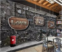 Wholesale custom motorcycle bars resale online - 3d wallpaper custom photo mural Retro nostalgic motorcycle bar tv background Home decor d wall murals wallpaper for walls d living room