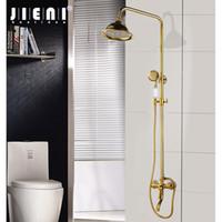 conjuntos de ducha led de pared al por mayor-Wall Mounted lujo al por mayor chapado en oro de Soild de latón grifo de la ducha sola manija de cerámica de hidromasaje batidora manual Aerosol de la ducha
