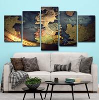 moda duvar resimleri toptan satış-5 ADET Oyun Thrones Haritası Poster Wall Art HD Baskı Tuval Boyama Moda Asılı Resimler
