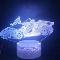 relógio dropship venda por atacado-Sports Car 3D Lamp Scissorgate O Alarm Clock base do toque Cor Sensor Mudando com remoto Dropship LED USB Noite Lamp Luz
