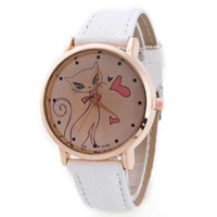 имитация наручных часов для женщин оптовых-Fashion Cat Crystal Imitation Leather Quartz Casual Women Wrist Watch