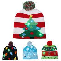 erwachsene tiaras groihandel-2019 Herbst und Winter Modelle Weihnachten Hüte unisex erwachsene Kinder Farbe Weihnachten Halloween LED beleuchtet Strickmütze Tiara Kopf warm