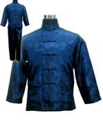 trajes de satén azul al por mayor-Azul marino de los hombres chinos traje de kung fu de satén tradicional masculino Wu Shu establece Tai Chi uniforme ropa más el tamaño S-XXXL MS002