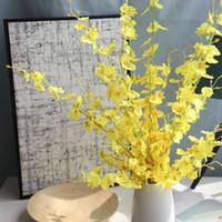 orchidée faux fleur de décoration achat en gros de-Danse-poupée Orchidée Artificielle Fleur Décoration Faux Fleur Maison De Mariage Décoration Moth Orchid DIY Soie Fleurs 5 Branches