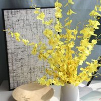 ingrosso falsi orchidee fiore-Danza-Doll Orchid Fiore artificiale Decorazione Fake Flower Home Decorazione di cerimonia nuziale Moth Orchid Fiori di seta fai da te 5 rami