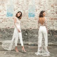 overall-ärmel großhandel-Sexy Jumpsuit Prom Abendkleider mit Overskirt Hosen Arabisch Dubai Lnng Ärmel Backless formalen Kleid-Knöchel-Längen-Outfit BC2632