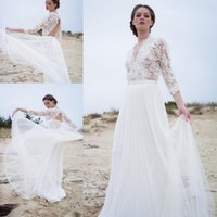 Wholesale casual beach style wedding dresses for sale - Group buy Boho Style Beach Wedding Dresses Sleeve V Neck Backless Lace Top Elegant Bohemian Casual Bridal Gowns Custom Size