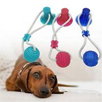 juguetes de dientes molares al por mayor-Multifunción para mascotas Molar mordedura de perro de juguete con cuerda interactivo ventosa juguete autoejecutable Rubber Ball Chew limpieza de los dientes de juguete para perros