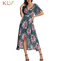 Wholesale casual wedding dresses plus woman for sale - Dress Women Sexy Summer V Neck Flower Vintage Maxi Dress Elegant Ladies Plus Size Wedding Evening Robe Femme Hiver Jan14