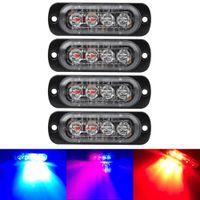 luz intermitente conduzida ambarina venda por atacado-Branco brilhante Vermelho Amarelo âmbar azul 4 LED Car Truck Van Beacon Strobe luz de advertência piscando lâmpada de emergência Car-Styling Luz