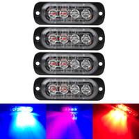 notfall-warnleuchte bernstein großhandel-Helles Weiß Gelb Rot Blau Gelb 4 LED-Auto-LKW Van Beacon Strobe Warnlicht Lampe blinkt Not-Car-Styling-Licht