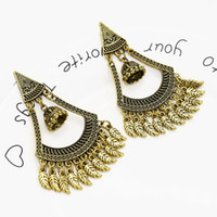 Wholesale vintage crystal earrings for sale - Group buy Vintage Gold Triangle Bell Tassel Earrings Party Earrings Tassel Earring Women Bridal Wedding Party Jewelry