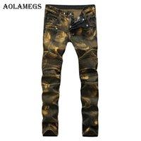 ingrosso pantaloni gialli per gli uomini-Aolamegs Uomo Jeans Pantaloni Pieghevole Locomotiva Giallo Nostalgia Rughe Paisley Pantaloni a lunghezza intera Estate Splicing Denim Fashion