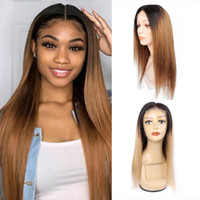 Wholesale blonde ombre human hair wigs for sale - Group buy KISSHAIR x4 lace closure wig T1B27 T1B30 ombre color Brazilian human hair wig golden blonde medium auburn front lace wig