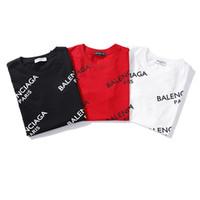 logo knits venda por atacado-2019 Unisex venda Quente Paris Design Homens Impresso Full Bal ciaga Logotipo Camiseta Camiseta Feminina moda Feminina barcelo Magro Moda Malhas Tops