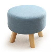 mesas de jogo venda por atacado-Short Round acolchoado Otomano Footrest Bench sapatos Início Sofá Bench linho madeira de pinho sólido Coffee Table Stool para cadeiras de jogos