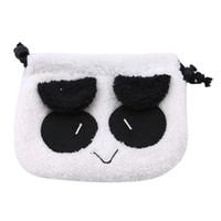 bolsa de cosméticos panda al por mayor-Encantador Panda Bolso Facial Maquillaje Bolsa de Cordones Cosmética Bolsa de Almacenamiento Multifuncional Con Monedero Bolso Suave Bolsa Organizador de Viaje