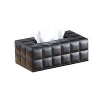 бумажная салфетка черный оптовых-Простой PU Tissue Box Прямоугольник Бумажные полотенца Держатель рабочего Салфетка Контейнер для хранения для домашнего офиса (размер S, черный)