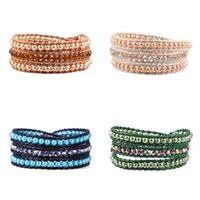 модный браслет с жемчугом оптовых-KELITCH 3 Strand Wrap Bracelets Charm Pearls  Leather Bracelets Female Women Bangle Cuff Fashion Jewelry
