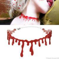 blutschmuck großhandel-Halloween Horror Blut Tropf Halskette Blutfleck Vampire Gothic Choker Punk Cosplay Halsketten Party Dekoration Schmuck Zubehör