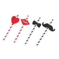 ingrosso adesivi a prua-10pcs Bella Cannuccia Barba Lip Carta paglia nero a strisce rosso Cuore Bow Sticker per la festa Festival di forniture Decor