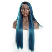 ingrosso parrucca blu mix-Vnice Ombre Mix Parrucca anteriore in pizzo sintetico blu e verde Parrucca sintetica frontale in pizzo frontale Parrucche sintetiche Resistenti al calore Parrucche sintetiche Y190717