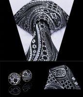 Hi-Tie Luxury Silk Black Paisley Floral Ties for Men Tie Set Ties and Handkerchiefs Fashion Designer Business Wedding Mens Ties N-3080