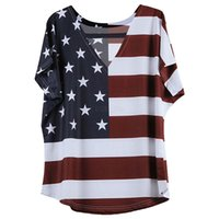 Wholesale flag tops girls resale online - Women T Shirts USA American Flag Star Striped Printed V neck short Sleeve Summer Tops Independence Day th July Tees Girls LJJA2393