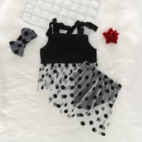 polka dot t shirt bebek toptan satış-Yaz Moda Bebek Kız Kıyafetler Set Puantiyeli Baskılı Askı Üst T-shirt + Örgü Etek PP Şort + kafa 3 Adet Bebek Giysileri