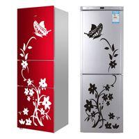 wandküche großhandel-Hohe Qualität Kreative Kühlschrank Schwarz Aufkleber Schmetterling Muster Wandaufkleber Dekoration Küche Wandkunst Wandbild