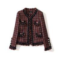 fransenjacken großhandel-Elegante rote Plaidtweedjackenfransenquaste der Frauen kettet formale Jacken der Bürodame neue Winterherbstoberbekleidung 2018 an