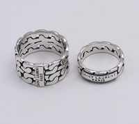 Wholesale made china sterling silver resale online - Fashion Brand designer silver Nightclub YS Hip hop jewelry vintage antique silver hand made Hip hop men and woman L rings gift