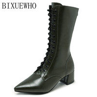 3df87b848f85 2018 New Vintage Winter Female Mid-Calf Boots Women Square Toes Low Heels  Slip On Solid Shoes Woman Mature Sexy Boots Shoes