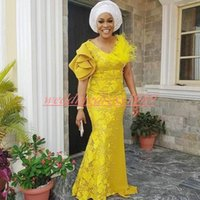Wholesale dress ruffle feather resale online - Modest Nigerian Ruffle V Neck Evening Dresses Lace Feather Yellow Plus Size Party Occasion Formal African Formal Black Girl Party Dress