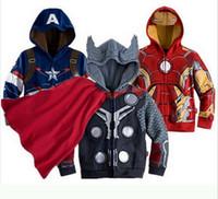çocuklar için karakter hoodies toptan satış-Yeşil Ceket Erkek örümcek adam Karikatür Süper kahraman Karakterler Kostüm Kapüşonlular Çocuklar Ceketler Fermuar Coats Kapşonlu Tops Maske