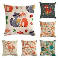 wald stühle großhandel-Cartoon Red Littele Fox Print Kissenbezug Cute Forest Animal Leinen Kissenbezug Home Chair Sofa Decor Dekokissenbezug
