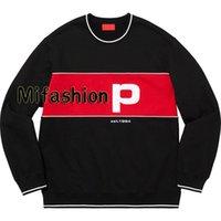 kadınlar için büyük sweatshirtler toptan satış-19FW Amerikan Moda Kutusu Logo Boru Crewneck Nakış Patchwork Büyük Logo Hoodie Kış Kaykay Kazak Erkekler Kadınlar Pamuk Hoody