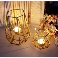 candelabro de metal artesanía al por mayor-Envío gratis Nordic Golden Iron Candlestick Wedding Projects Decoración del hogar Dormitorio Sala de estar Decoración Metal Candle Holder Crafts