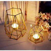 Wholesale golden wedding candles resale online - Nordic Golden Iron Candlestick Wedding Projects Home Decoration Bedroom Living Room Decoration Metal Candle Holder Crafts
