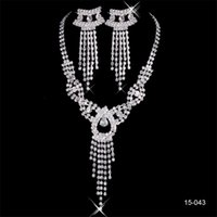 Wholesale accessories resale online - 2019 Elegant Silver Plated Pearl Rhinestone Bridal Necklace Earrings Jewelry Set Cheap Accessories for Evening