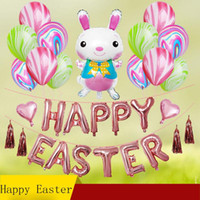 bunny dekor toptan satış-12 inç Paskalya Günü Partisi Dekoratif Setleri Karikatür Tavşan Bunny Şekil Alüminyum filmi Balon Dekor Kitleri çocuk oyuncakları