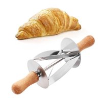 make bread 2021 - Stainless Steel Rolling Cutter For Making Croissant Bread Wheel Dough Pastry Wooden Handle Baking Kitchen Tool
