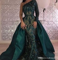 un vestido de manga larga vestidos al por mayor-2019 mangas largas vestido de noche árabe una línea un hombro concurso formal de fiesta desgaste vestido de fiesta vestido de fiesta por encargo más tamaño
