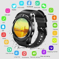 Wholesale ladies smart watches for sale - Group buy Smart Watch V8 Men Bluetooth Sport Watches Women Ladies Rel gio Smartwatch with Camera Sim Card Slot Android Phone PK DZ09 Y1 A1