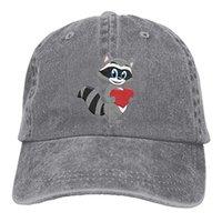 Wholesale raccoon animal online - 2019 New Cheap Baseball Caps Print Hat Raccoon Heart Mens Cotton Adjustable Washed Twill Baseball Cap Hat