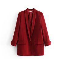 ingrosso tasche sul bottone-ZOUHIRC Classic Donna Blazer rosso Tasche singolo pulsante manica lunga ufficio indossare cappotto solido femminile tuta cappotto tuta sportiva casual