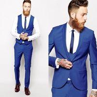 herren-jacke großhandel-New style Blau Bräutigam Smoking Schal Revers Best Man Groomsmen Mens Hochzeitskleid Anzüge Bräutigam (Jacke + Pants + Tie + Vest) XZ15