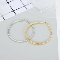 Wholesale double layer earrings for sale - Group buy 1Pair Punk Double Layers Circle Hoop Earrings for Women Eueopean Gold Color Big Party Stage Earrings Gift Female Jewelry E400