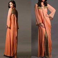 kleider party abend lang renda großhandel-2020 Vestido de Renda Chiffon Langarm Arabisch Dubai Abendkleider Frauen Formale Mutter der Braut Kleid Kaftan Benutzerdefinierte Party Kleider